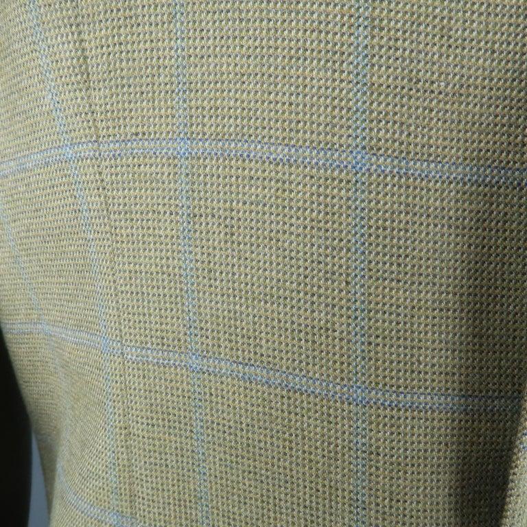 Men's LORO PIANA 42 Green & Blue Plaid Cashmere Notch Lapel Sport Coat For Sale