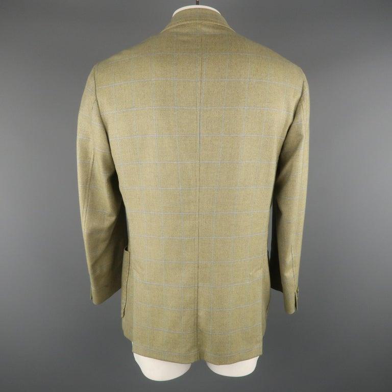 LORO PIANA 42 Green & Blue Plaid Cashmere Notch Lapel Sport Coat For Sale 1