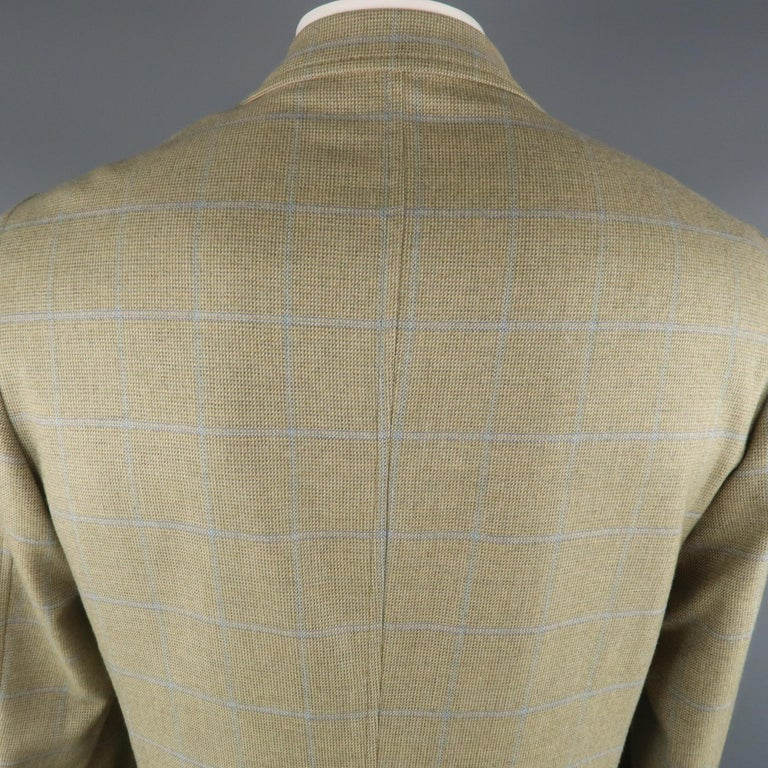 LORO PIANA 42 Green & Blue Plaid Cashmere Notch Lapel Sport Coat For Sale 2