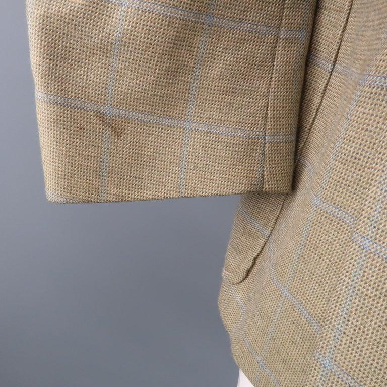 LORO PIANA 42 Green & Blue Plaid Cashmere Notch Lapel Sport Coat For Sale 3