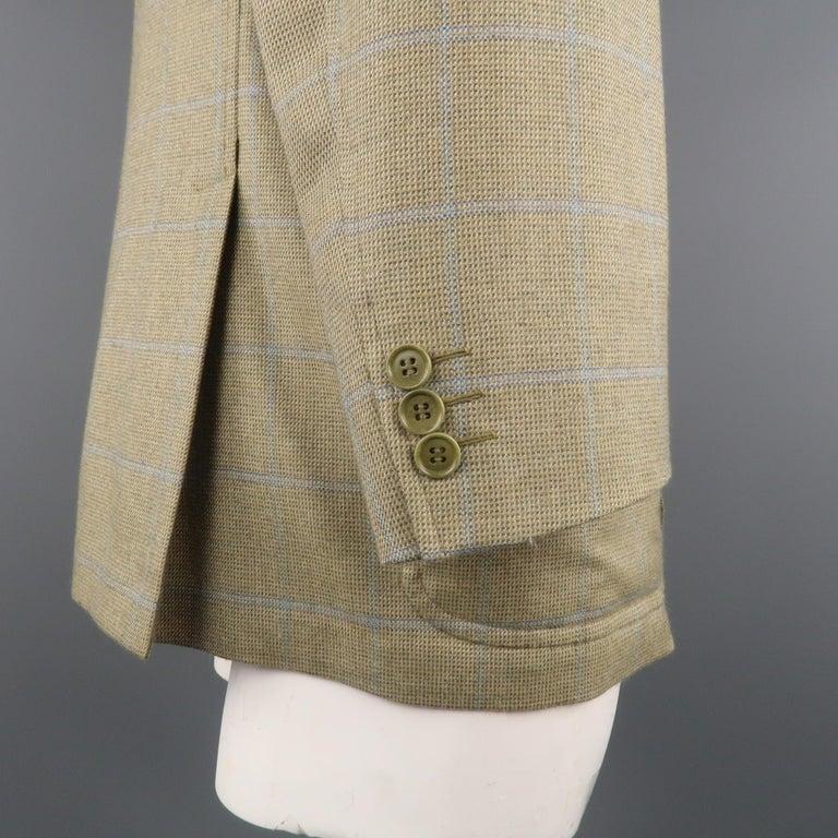 LORO PIANA 42 Green & Blue Plaid Cashmere Notch Lapel Sport Coat For Sale 4