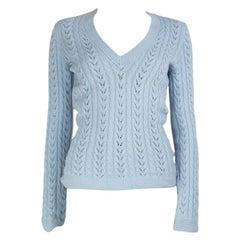 LORO PIANA baby blue cashmere V-Neck Sweater 42 M