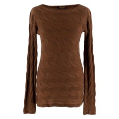 Loro Piana Baby Cashmere Brown Cable Knit Jumper - Size US 0