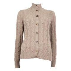 LORO PIANA beige cashmere CABLE-KNIT Cardigan Sweater 40 S