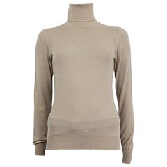 LORO PIANA beige cashmere DOLCEVITA PIUMA Turtleneck Sweater 38 XS