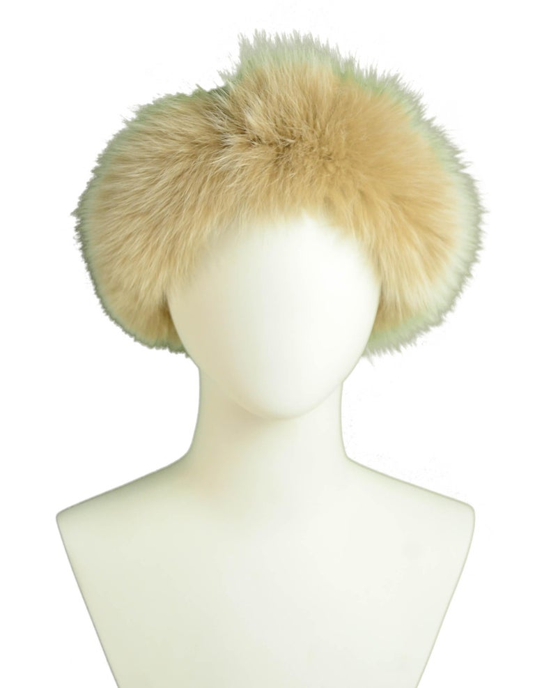 "Loro Piana Beige Cashmere Knit Hat w/Fox Trim  Made In: Italy Color: Beige Materials: 100% Baby Cashmere, Fox Overall Condition: Excellent  Measurements:  20"" Circumference (unstretched) x 8"" High"