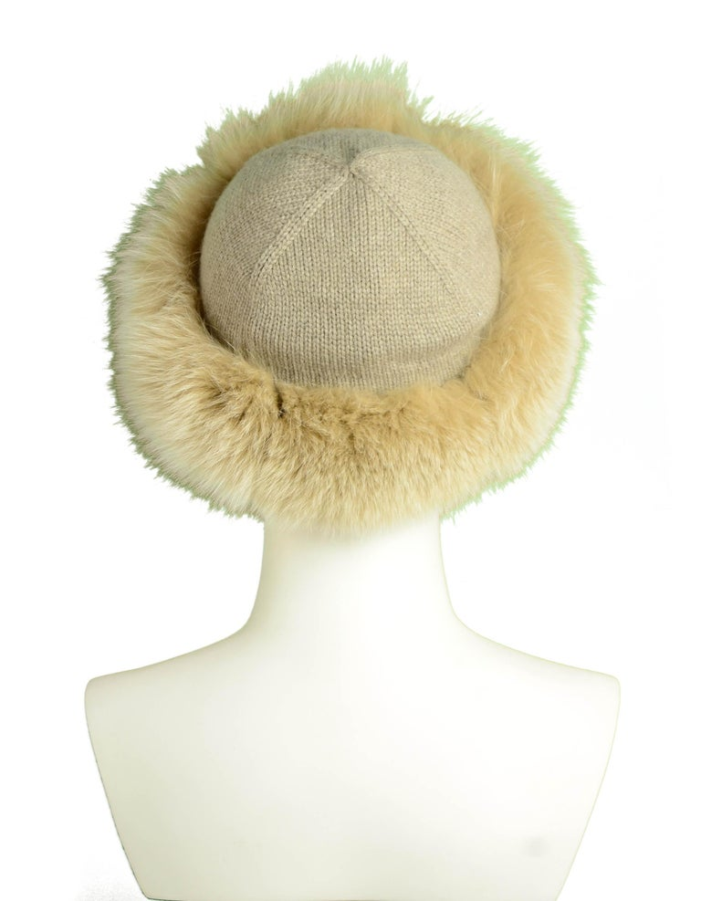 Loro Piana Beige Cashmere Knit Hat w/Fox Trim In Excellent Condition In New York, NY