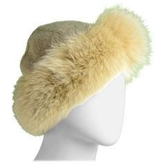 Loro Piana Beige Cashmere Knit Hat w/Fox Trim