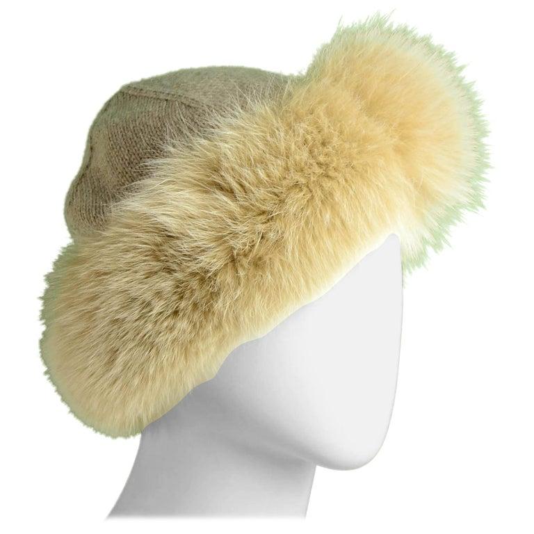 Loro Piana Beige Cashmere Knit Hat w/Fox Trim For Sale