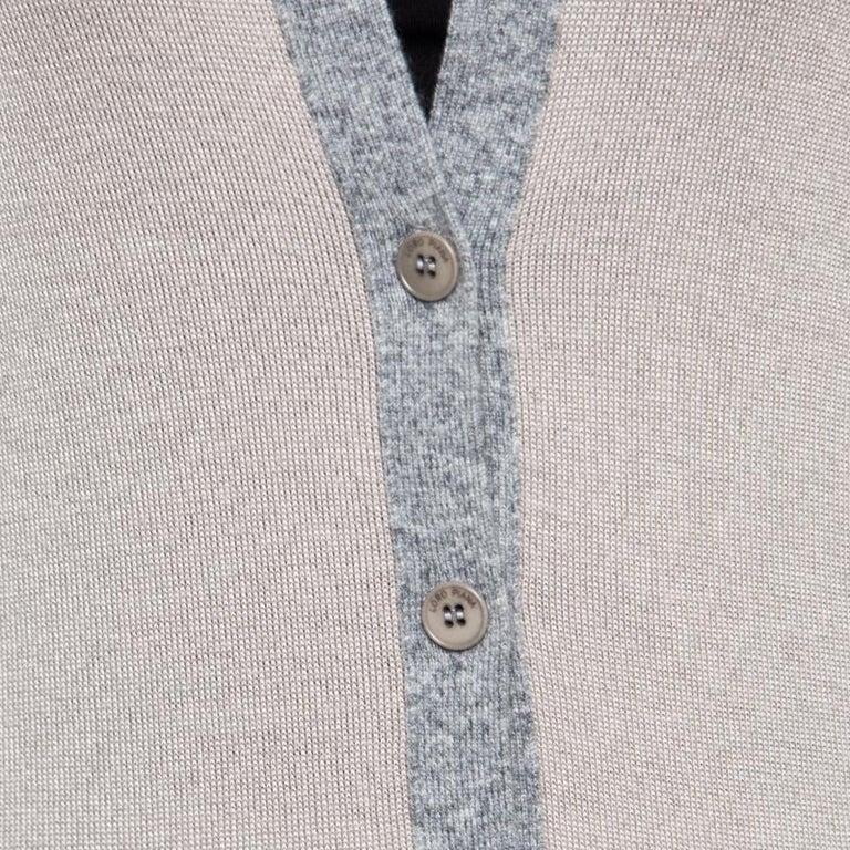 Women's Loro Piana Beige Contrast Trim Detail Cashmere and Silk Cardigan M For Sale