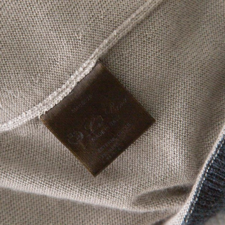Loro Piana Beige Contrast Trim Detail Cashmere and Silk Cardigan M For Sale 1