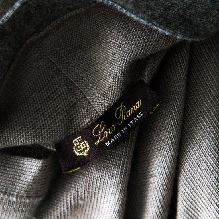 Loro Piana Beige Contrast Trim Detail Cashmere and Silk Cardigan M For Sale 3
