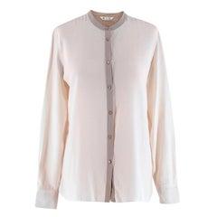 Loro Piana Beige Mandarin Collar Silk Shirt - Size US 4