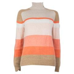 LORO PIANA beige pink cashmere Turtleneck Sweater 42 M