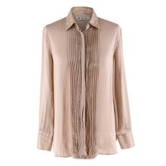 Loro Piana Beige Silk Satin Pleated Shirt - Size US 4