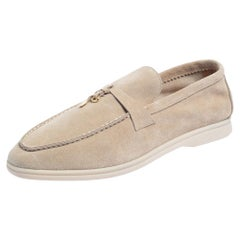 Loro Piana Beige Suede Summer Charms Walk Slip On Loafers Size 45
