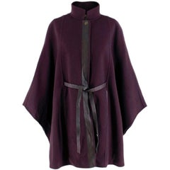 Loro Piana belted leather-trimmed cashmere cape S