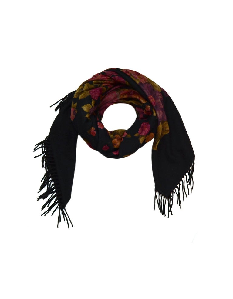 Loro Piana Black Cashmere XL Shawl with Floral Print and Fringe Trim  Made In: Italy Color: Black Materials: 100% Cashmere Overall Condition: Excellent pre-owned condition  Measurements:  60
