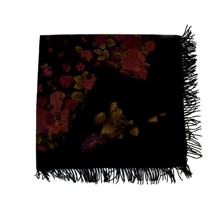 "Loro Piana Black Cashmere 60"" XL Shawl Scarf w. Floral Print and Fringe Trim For Sale"