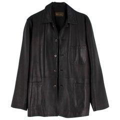 Loro Piana Dark Chocolate Brown Leather Jacket - Size L
