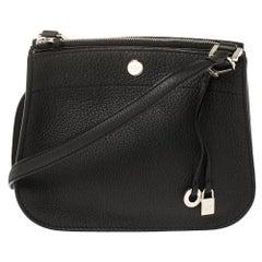Loro Piana Black Leather Milky Way Odessa Crossbody Bag