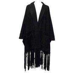 Loro Piana Black Suede & Cashmere Kimono UK size 8-10
