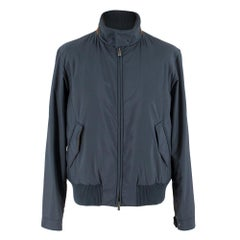 Loro Piana Blue Bomber Jacket with Mink Lining & Goat Suede Trim M