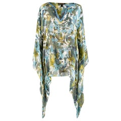 Loro Piana Blue & Green Watercolour Floral Print Blouse - Size Estimated M