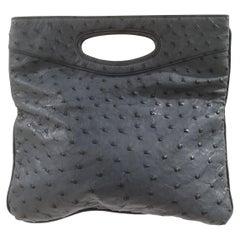 Loro Piana Blue ostrich handle bag clutch