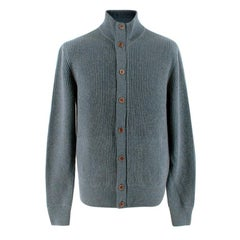 Loro Piana Blue Ribbed Cashmere Zip Up Cardigan - Us size 38