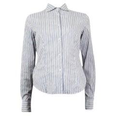 LORO PIANA blue & white cotton  STRIPED Button-Up Shirt 40 S
