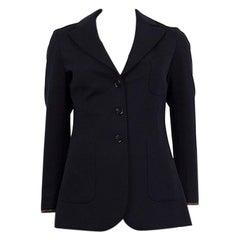 LORO PIANA blue wool KARISSA LEATHER TRIM Blazer Jacket 36 XXS