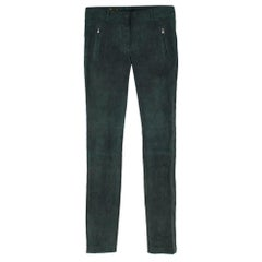 Loro Piana Bottle Green Lambskin Suede Trousers IT 42