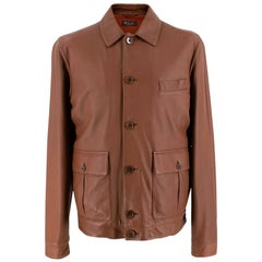 Loro Piana Brown Button-Down Leather Jacket M