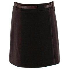 Loro Piana Brown Cashmere Blend Wrap Belted Mini Skirt - Size US 4