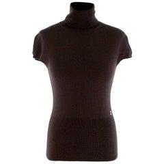 Loro Piana Brown Cashmere Cap-Sleeve Turtleneck Sweater - Size US2