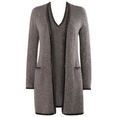LORO PIANA Brown Cashmere Leather Tweed Knit Cardigan Dress Sweater Twin Set 44