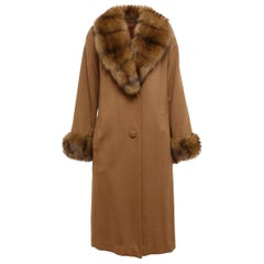 Brown Custom Made Loro Piana Cashmere Sable-Trimmed Coat
