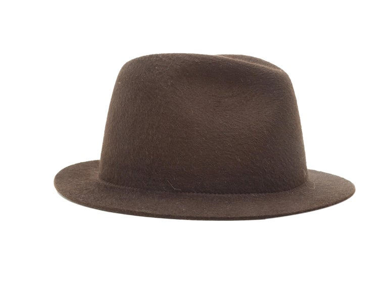 Product details:  Brown mink felt hat by Loro Piana.  24