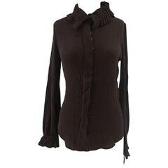 Loro Piana brown silk shirt
