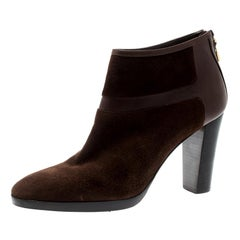 Loro Piana Brown Suede And Leather Ankle Boots Size 40