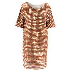 Loro Piana Brown & White Polka Dot Dress 38 S