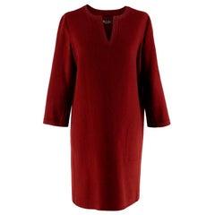 Loro Piana Burgundy Cashmere Long Sleeve Dress - Size US 4