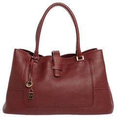 Loro Piana Burgundy Leather Large Odessa Bellevue Tote