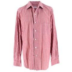 Loro Piana Burgundy & White Striped Shirt XL