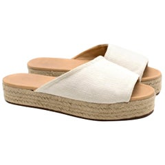 Loro Piana canvas platform sandals US 8