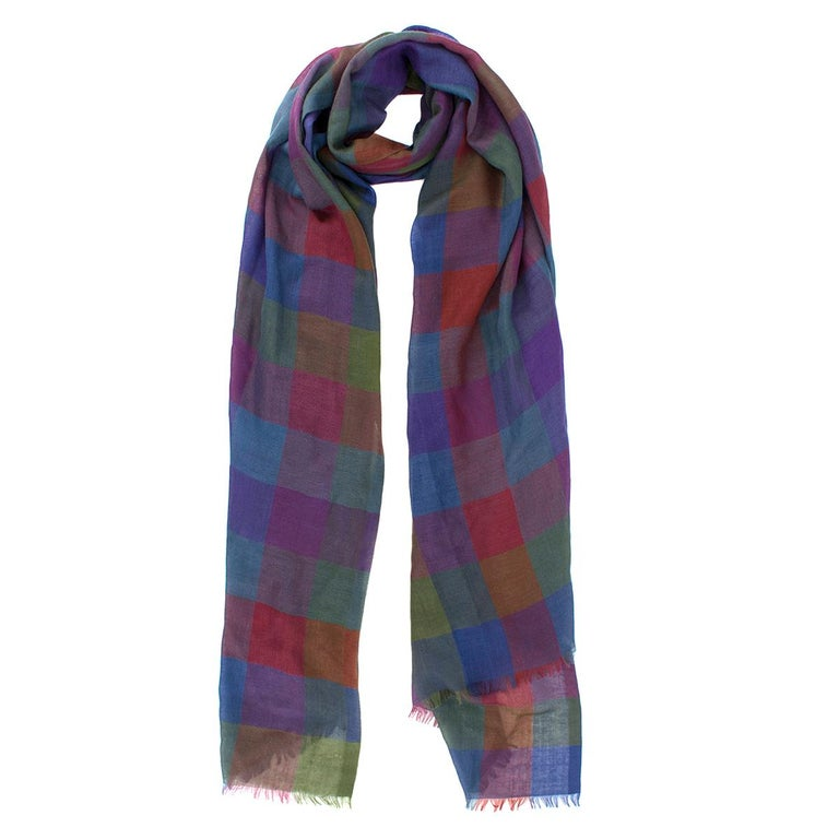 Loro Piana Cashmere & Silk-blend Checked Print Scarf  - Multi-coloured, cashmere & silk-blend scarf - Check pattern - Lightweight - Frill trim edges  - 70% cashmere and 30% silk.  Please note, these items are pre-owned and may show some signs of