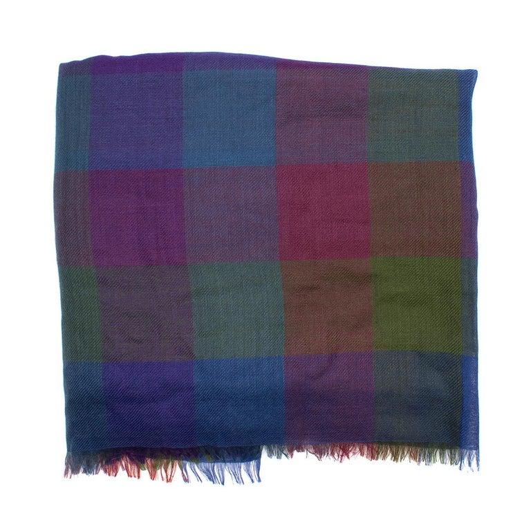 Gray Loro Piana Cashmere & Silk-Blend Checked Shawl For Sale