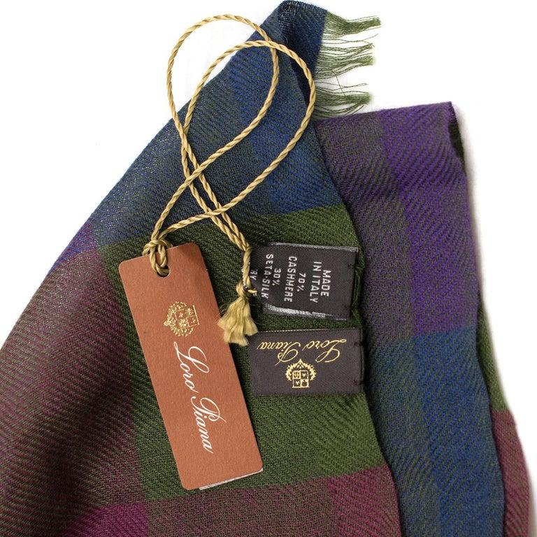 Loro Piana Cashmere & Silk-Blend Checked Shawl In New Condition For Sale In London, GB