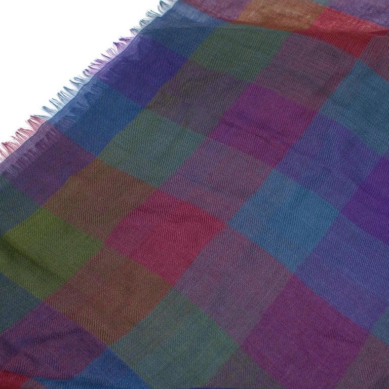 Loro Piana Cashmere & Silk-Blend Checked Shawl For Sale 1